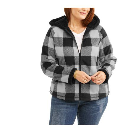 305a1d3a407 Faded Glory Women s Plus-Size Microfleece Hoodie With Cozy Sherpa Lining