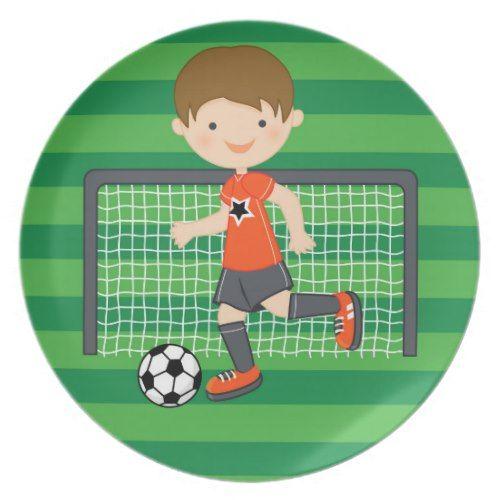 Orange Boy Soccer Player Melamine Personalized Name Plate Soccer Boy Plate