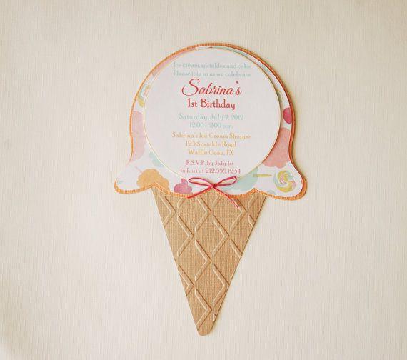 adorable ice cream sundae invitations # childrens #Invitations #hootsie #carnival