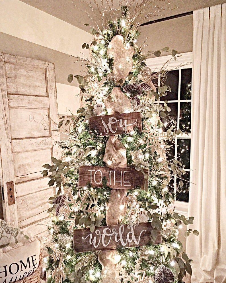 Joy To The World Wood Tree Signs Christmas Tree Decor Rustic Christmas Decor In 2020 Christmas Decorations Rustic Tree Christmas Decorations Rustic White Christmas Trees