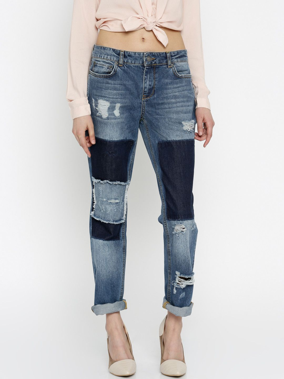 Buy Vero Moda Women Blue Low Rise Highly Distressed Jeans ...