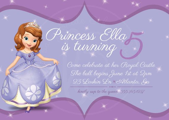 Sofia The First Birthday Invitation X By BabyBrideandBungalow - Sofia the first party invitation template