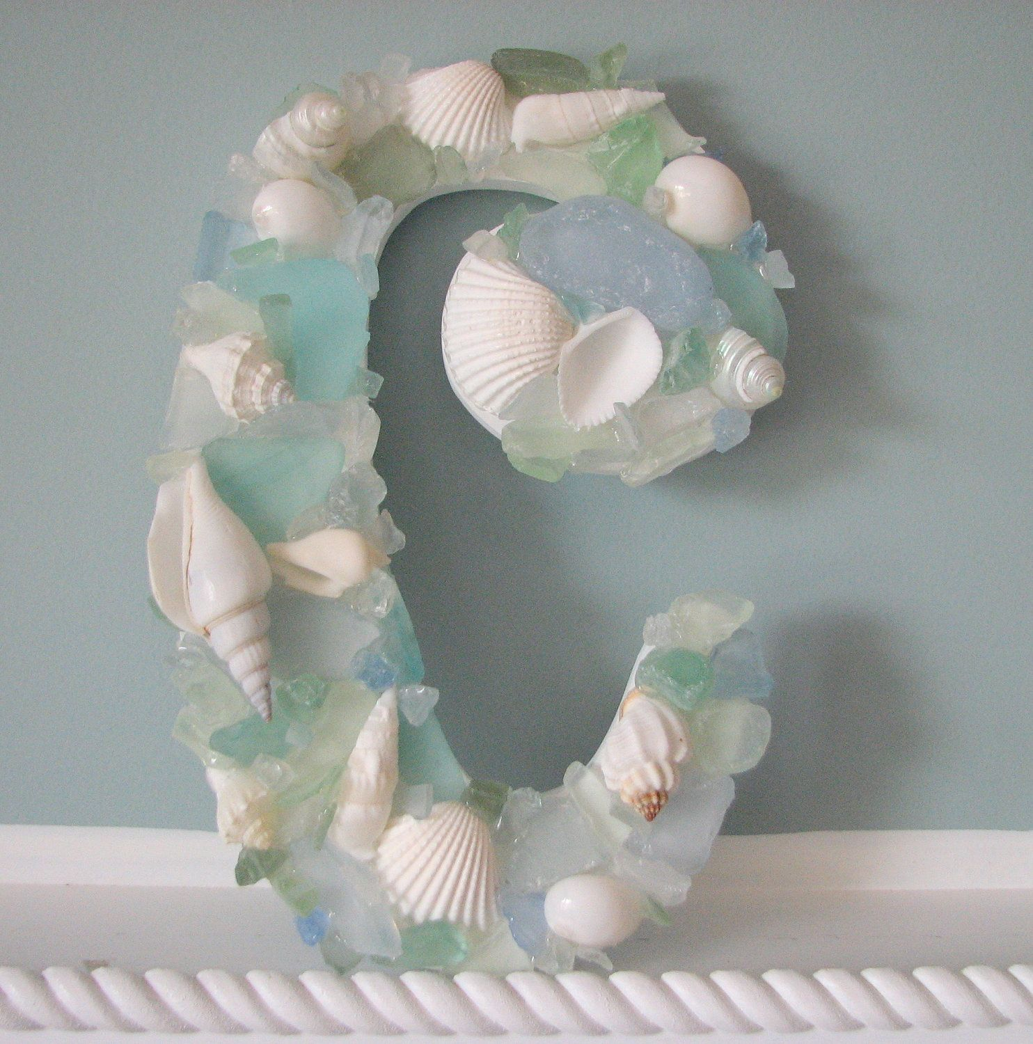 Glass Letters For Wall Seashell Wall Decor  Shell Wall Letters  Beach Decor Sea Glass
