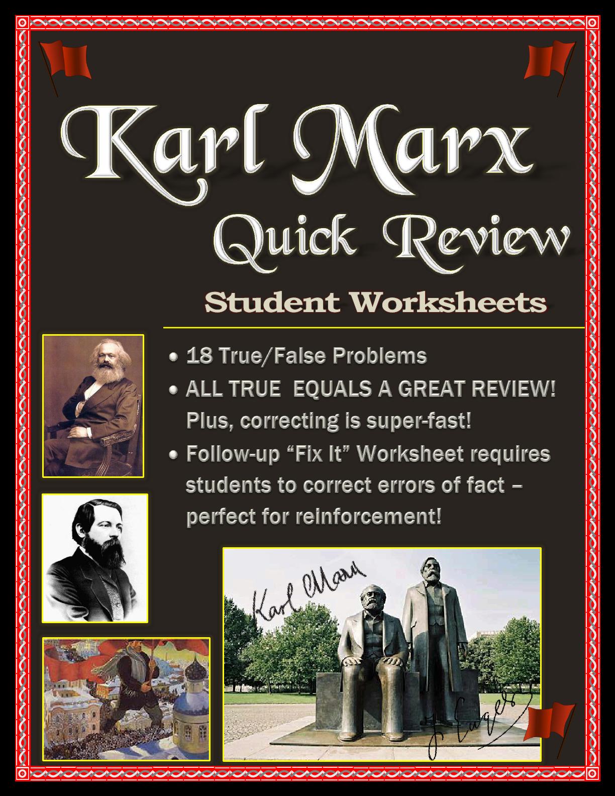 Karl Marx Worksheet Pack True False And Fix It