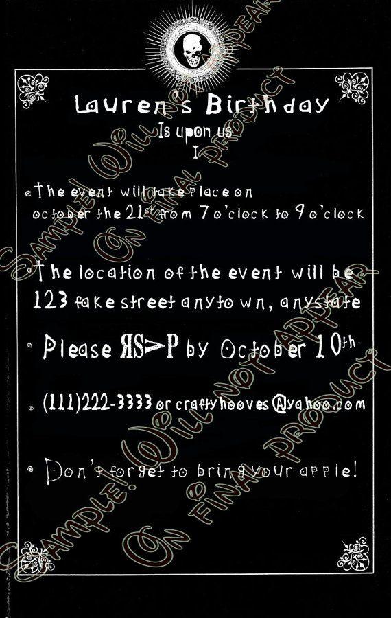 Death Note Party Invitations U-Print Custom by CraftyHooves | Custom ...