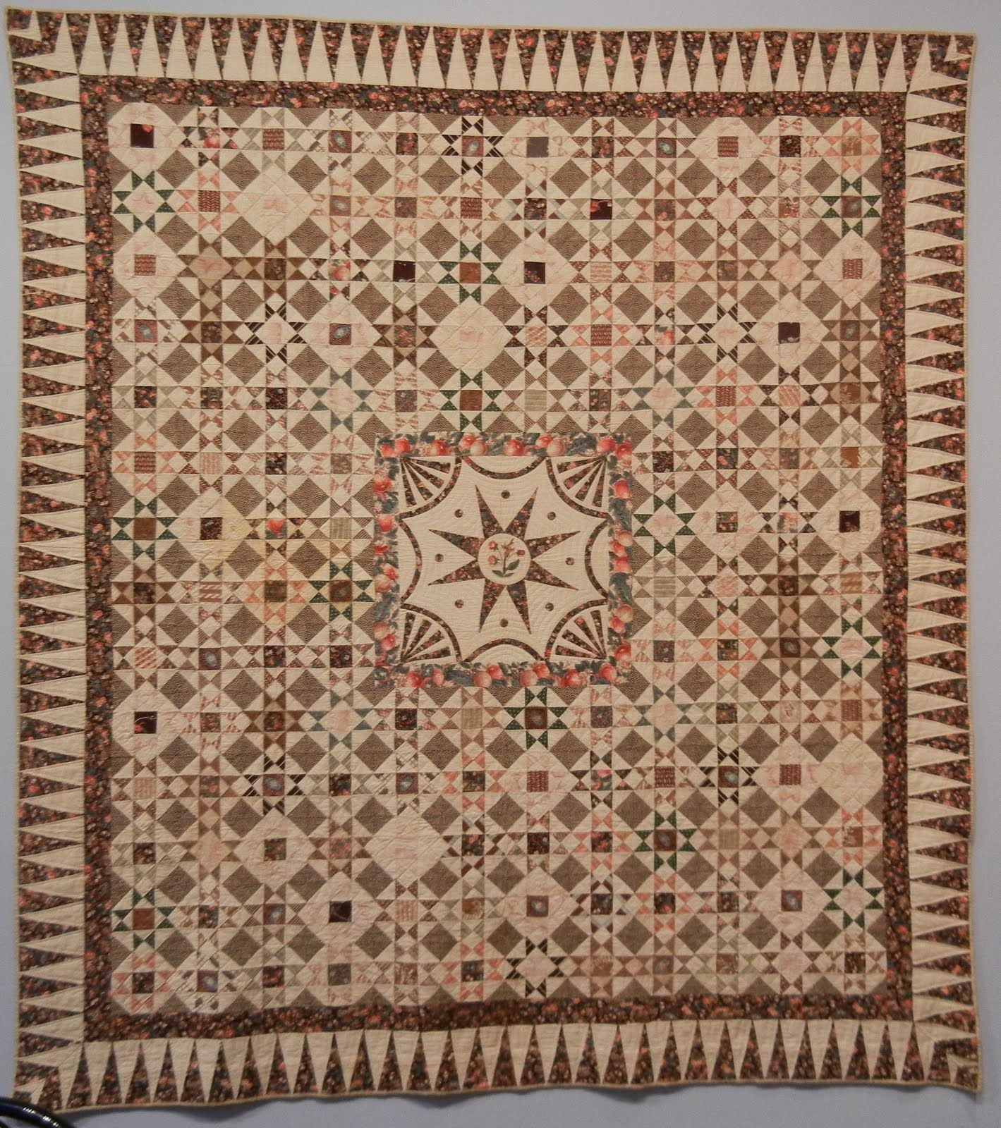 Ohio Stars Quilt; When the Red and White Quilt Exhibit was in NYC in March, this lovely quilt was on display at the American Folk Art Museum.