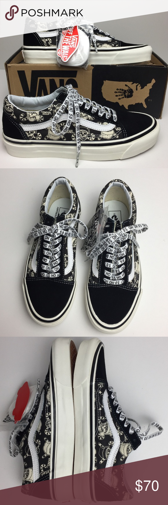 8dac85a0fa Vans Old Skool 36 Reissue 50th STV Pirate Santa 50th Anniversary Limited  Edition. Awesome Pirate Santa Skulls black and white print. Low top skate  shoes.