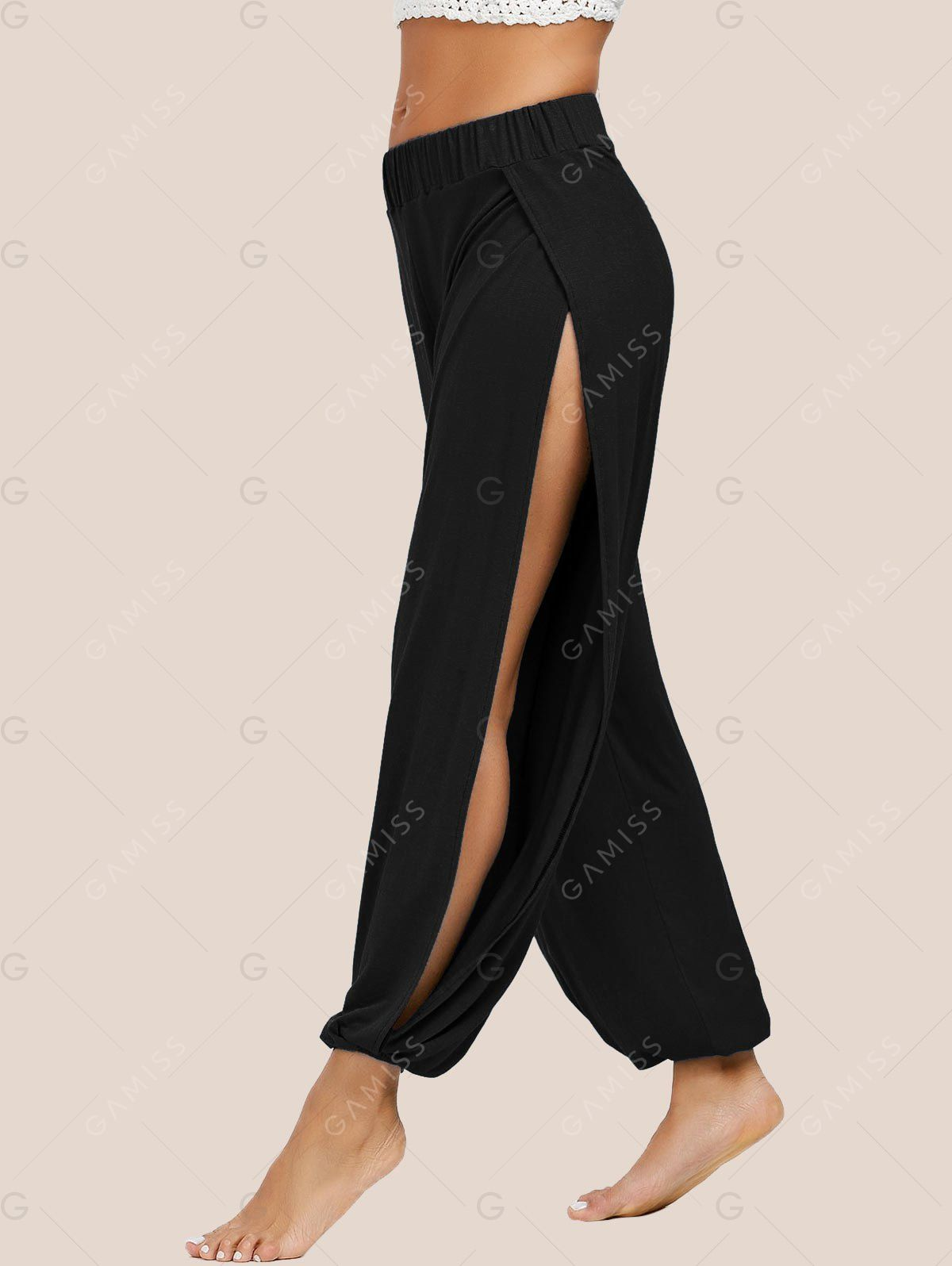 c29c360a68820 Slit Elastic Waist Harem Pants in 2019 | boho patterns | Yoga pants ...