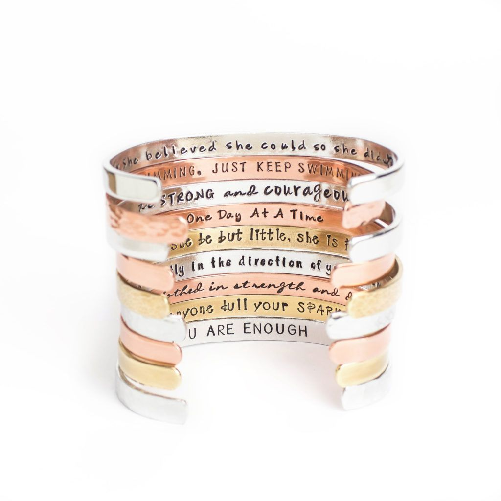 Copper Names Hand stamped Quotes Copper Cuff Customize Your Own Hand Stamped Copper Wire Cuff Customizable Mantra