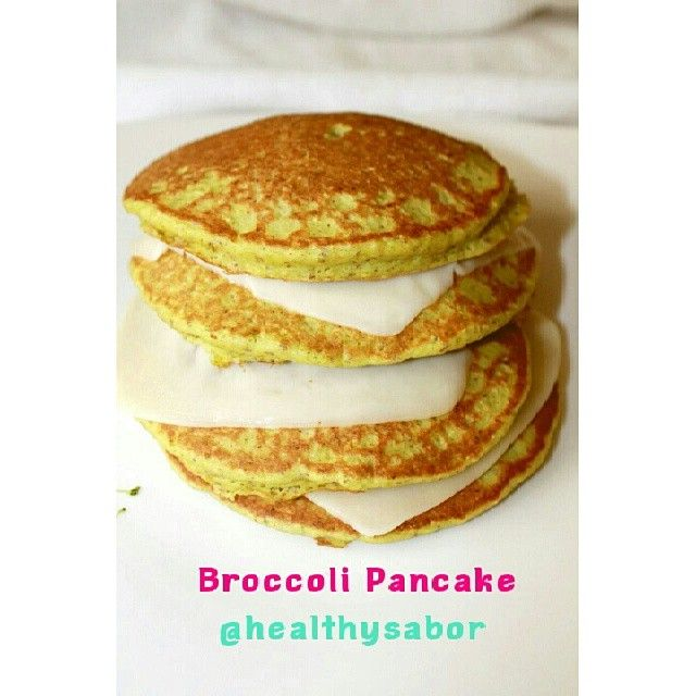 Hi Everybody!!!!!!!!!!! This was my Breakfast this morning!! Broccoli Pancake!! i wanted to eat something salty so i decided to make this delicious different pancake  i filled them with fresh mozzarella cheese mmmm mmmm Yummy!! I CHECK THE RECIPE IN MY INSTAGRAM ACCOUNT @HEALTHYSABOR