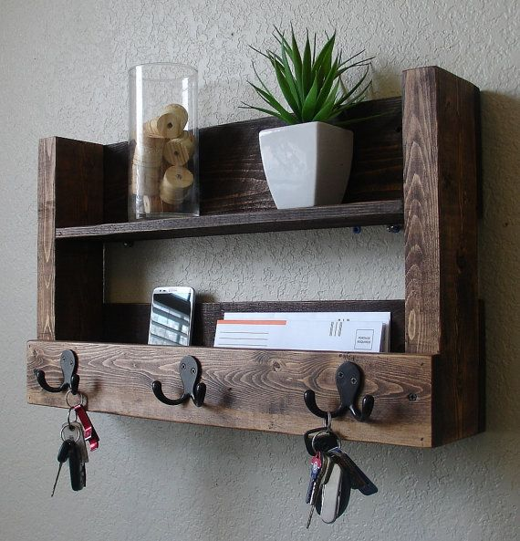 Rustic Entryway 3 Hanger Hook Coat Rack With Shelf And Mail Phone Key Organizer Rustic Furniture Design Key Holder Diy Entryway Organizer Shelf