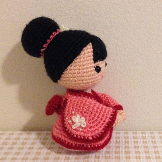 Amigurumi Crochet Doll Pattern - Japanese Kimono Doll, Anime Girl ...