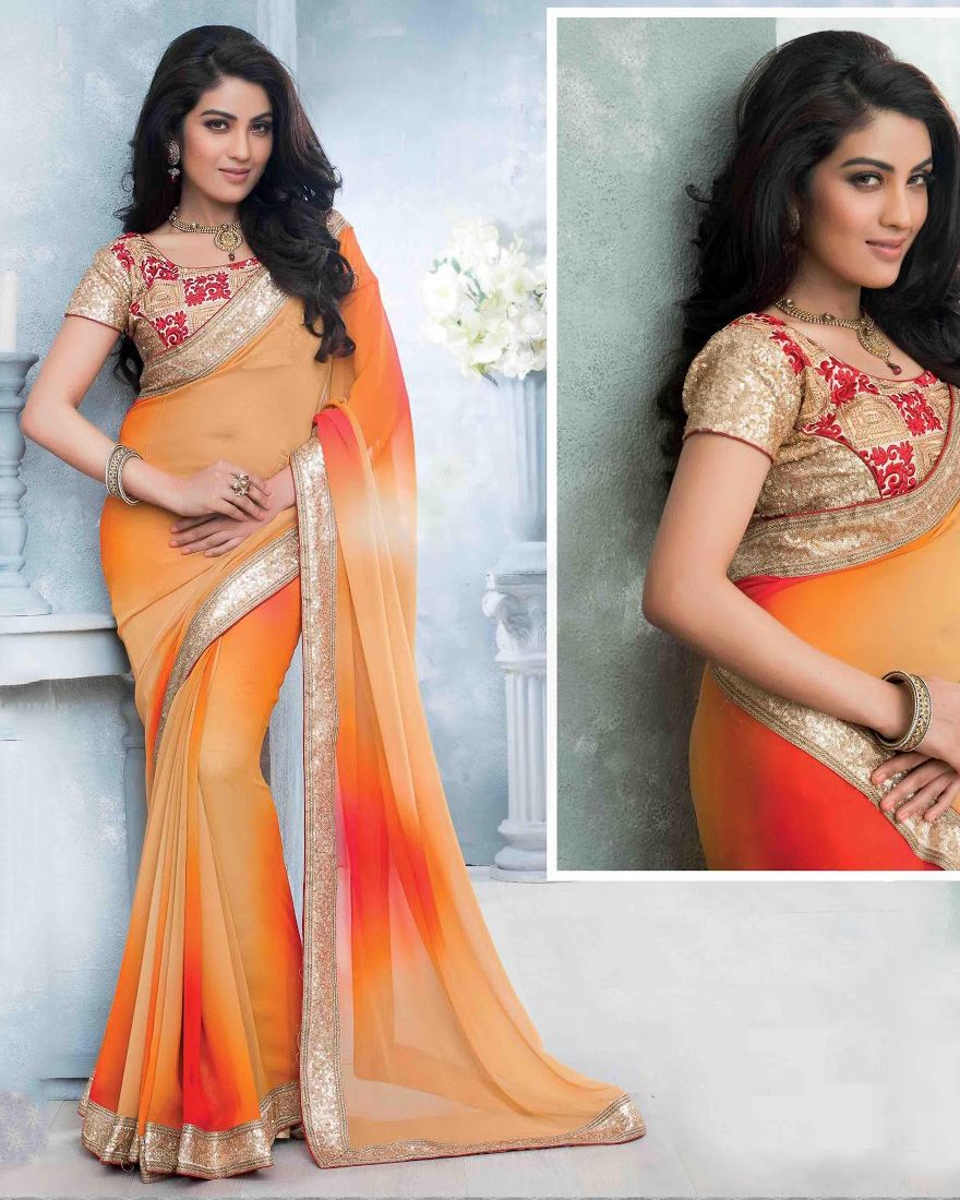 http://www.sareesaga.in/index.php?route=product/product&product_id=16811 Style:Designer Saree Shipping Time:10 to 12 Days Occasion:Party Festival Reception Fabric:Georgette Colour:Orange Cream Work:Embroidered Lace For Inquiry Or Any Query Related To Product,  Contact :- +91 9825192886