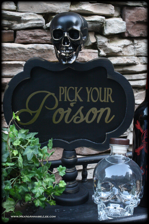 Gothic DIY Skull Chalkboard Sign Halloween bar