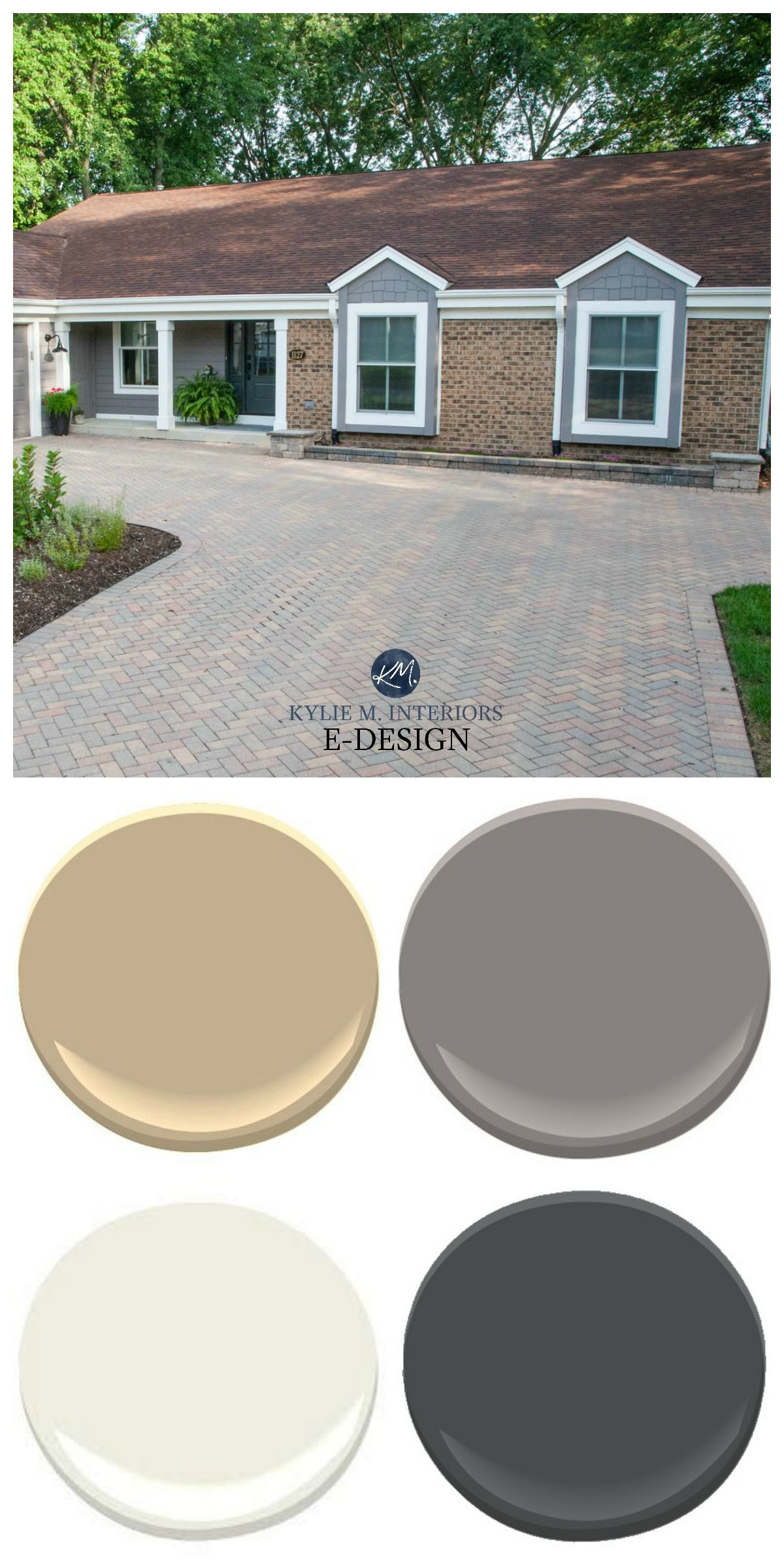 Brick Exterior With Driveway Rancher Kylie M Interiors Edesign Warm Gray Off White And Black Sh Exterior House Colors Brick Exterior House Exterior Brick