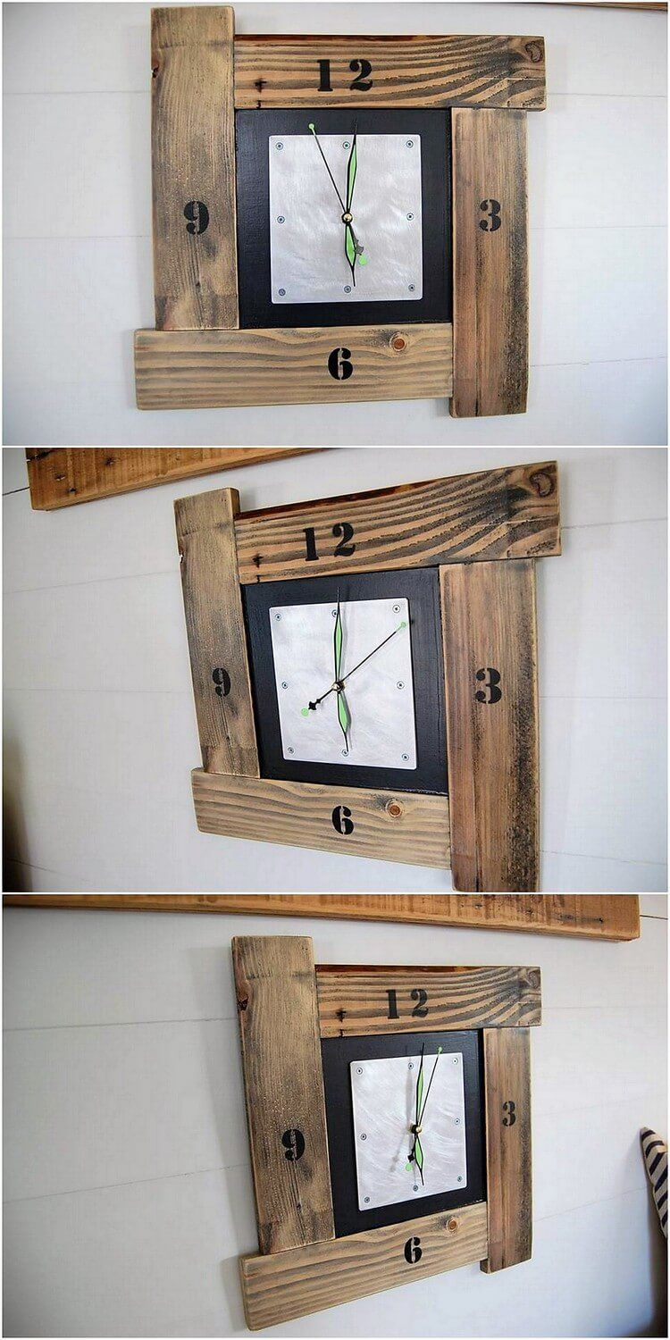 What A Creative Wood Pallet Wall Clock It Is This Wall Clock