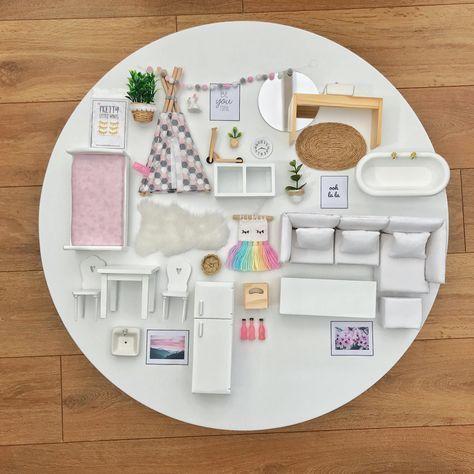 modern dollhouse furniture package, modern dolls house furniture package
