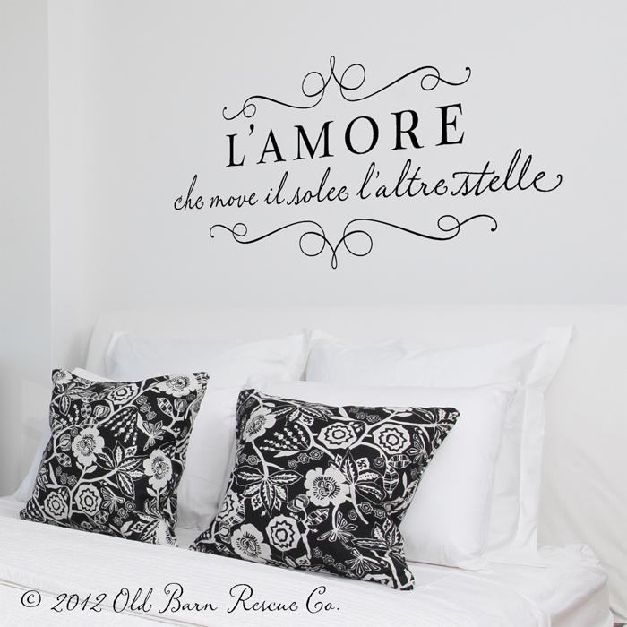 L Amore Wall Decals Home Decor Italian For Love That Moves The Sun And Other Stars Monogram Wall Decals Monogram Wall Monogram Decal