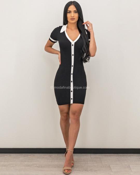 Leyla Ribbed V-Neck Button Mini Dress 2