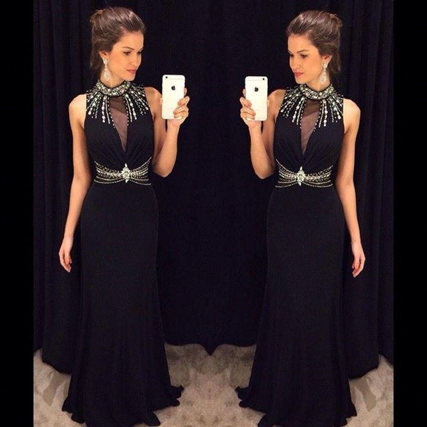 Elegante High Neck Long Black Abendkleid Meerjungfrau Sleeveless ...