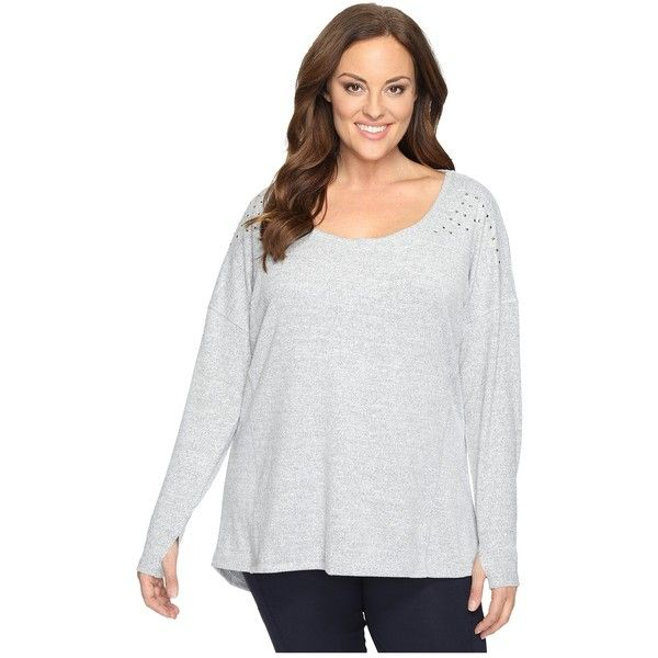 a4426318aa Marika Curves Plus Size Alexis Heather Studded Long Sleeve (Heather...  (€54) ❤ liked on Polyvore featuring plus size women s fashion