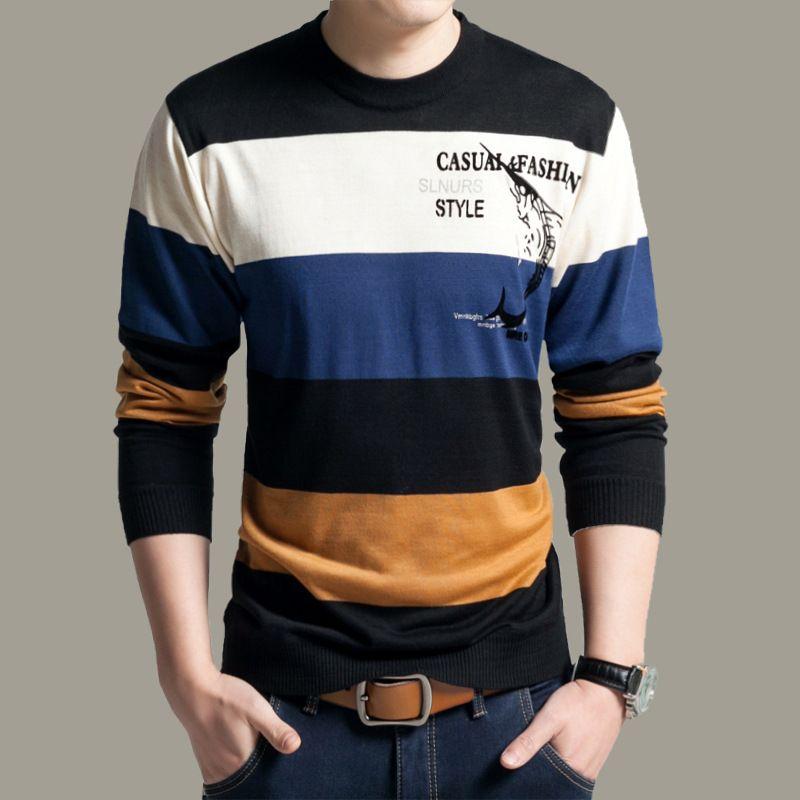 2016 male sweater men s long-sleeve casual o-neck shark stripe pullover  fitness Slim c1e9ef942