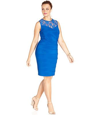 Ruby Rox Plus Size Sleeveless Lace Illusion Bodycon Dress Junior
