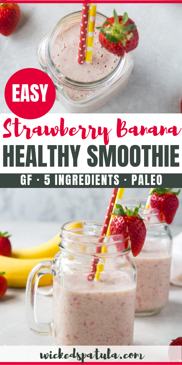 Strawberry Banana Smoothie #healthystrawberrybananasmoothie Strawberry Banana Smoothie - See how to make the BEST healthy strawberry banana smoothie recipe! This strawberry and banana smoothie is so delicious, you won't guess it's paleo, gluten-free, and vegan. #wickedspatula #paleo #easy #healthy #breakfast #smoothie #dairyfree #strawberrybananasmoothie
