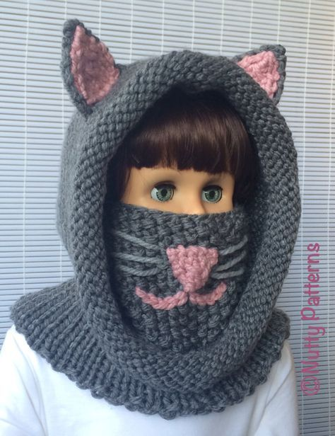Knitting patterns Cat Hooded Cowl Instant by nuttypatterns ...