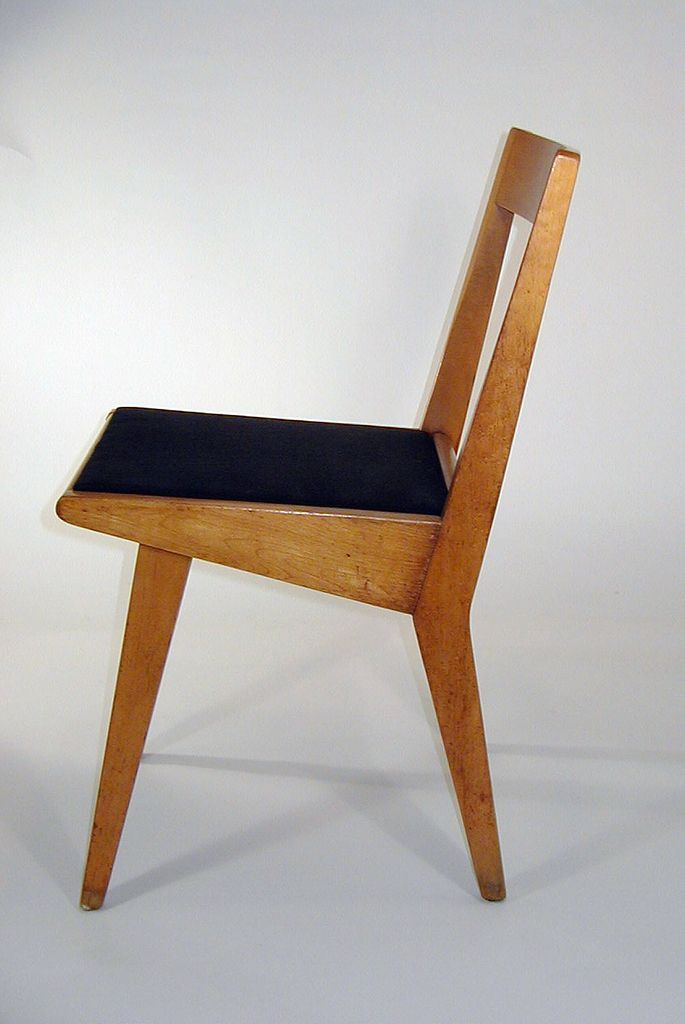 Good Jens Risom, Wooden Stacking Chair, 1952 USA For Knoll. Acquired By Cooper  Hewitt In Black Textile For Seat.