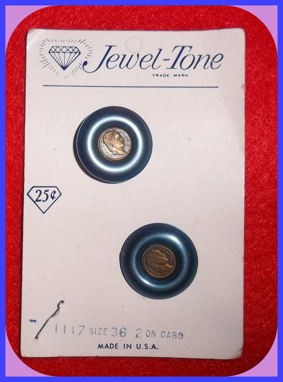 Vintage Buttons 2 On Card Jewel Tone Napoleon Bonaparte Emperor