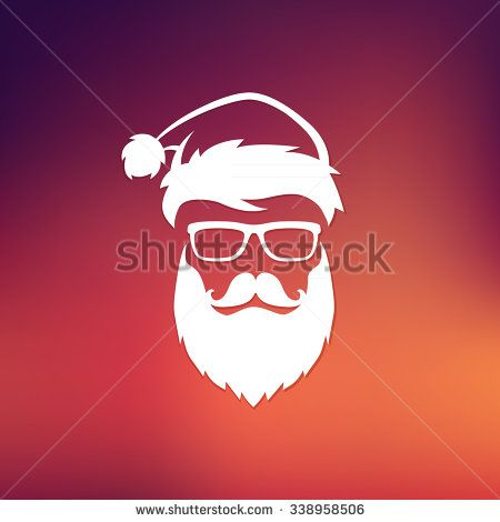1960a7edec14a4 Vector hipster Santa Claus fashion silhouette with cool beard and glasses