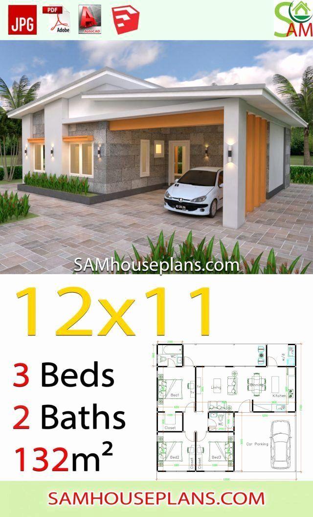 12 X 11 Bedroom Luxury House Plans 12x11 With 3 Bedrooms Shed Roof In 2020 Em 2020 Plantas De Casas Fachadas De Casas Terreas Projectos De Casas