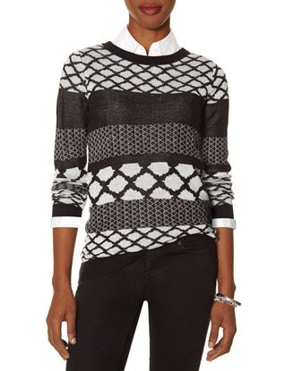 Mixed Print Sweater from THELIMITED.com EXTRA SMALL TALL