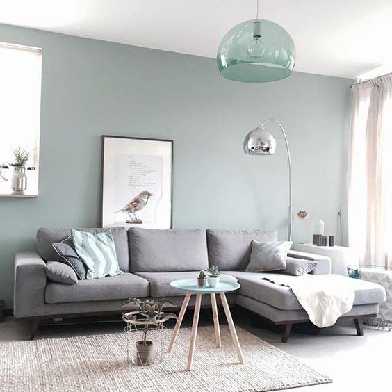 Elegant Wohnzimmer In Grau, Beige, Gebrochenem Türkis