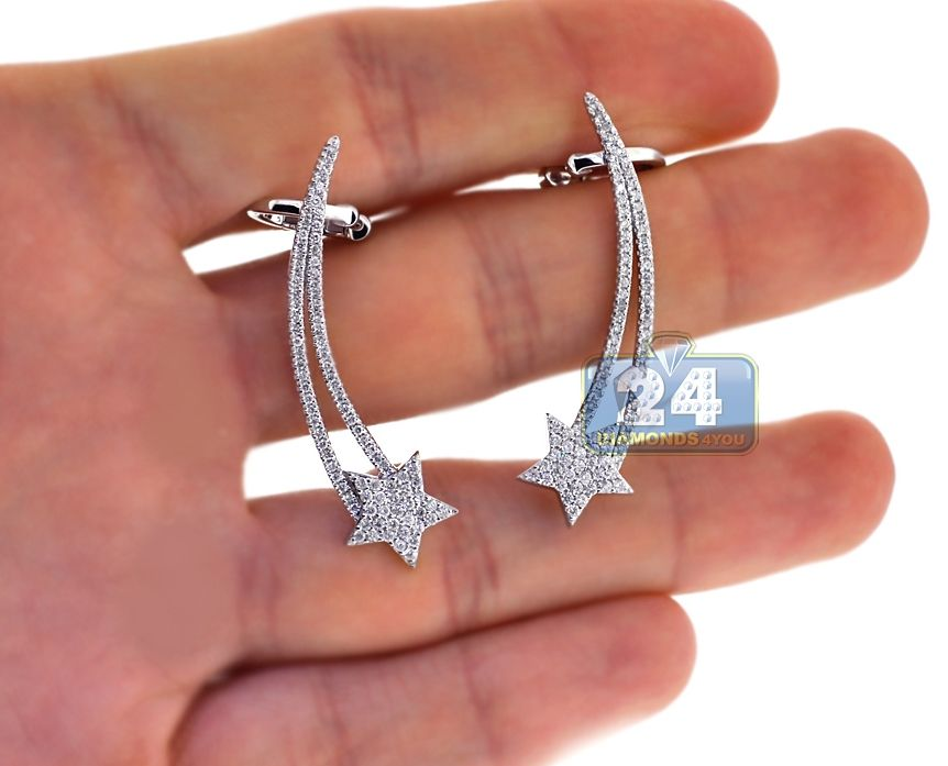18K White Gold 0.95 ct Diamond Star Womens Ear Crawlers  star  earrings   diamonds d66546d2d6