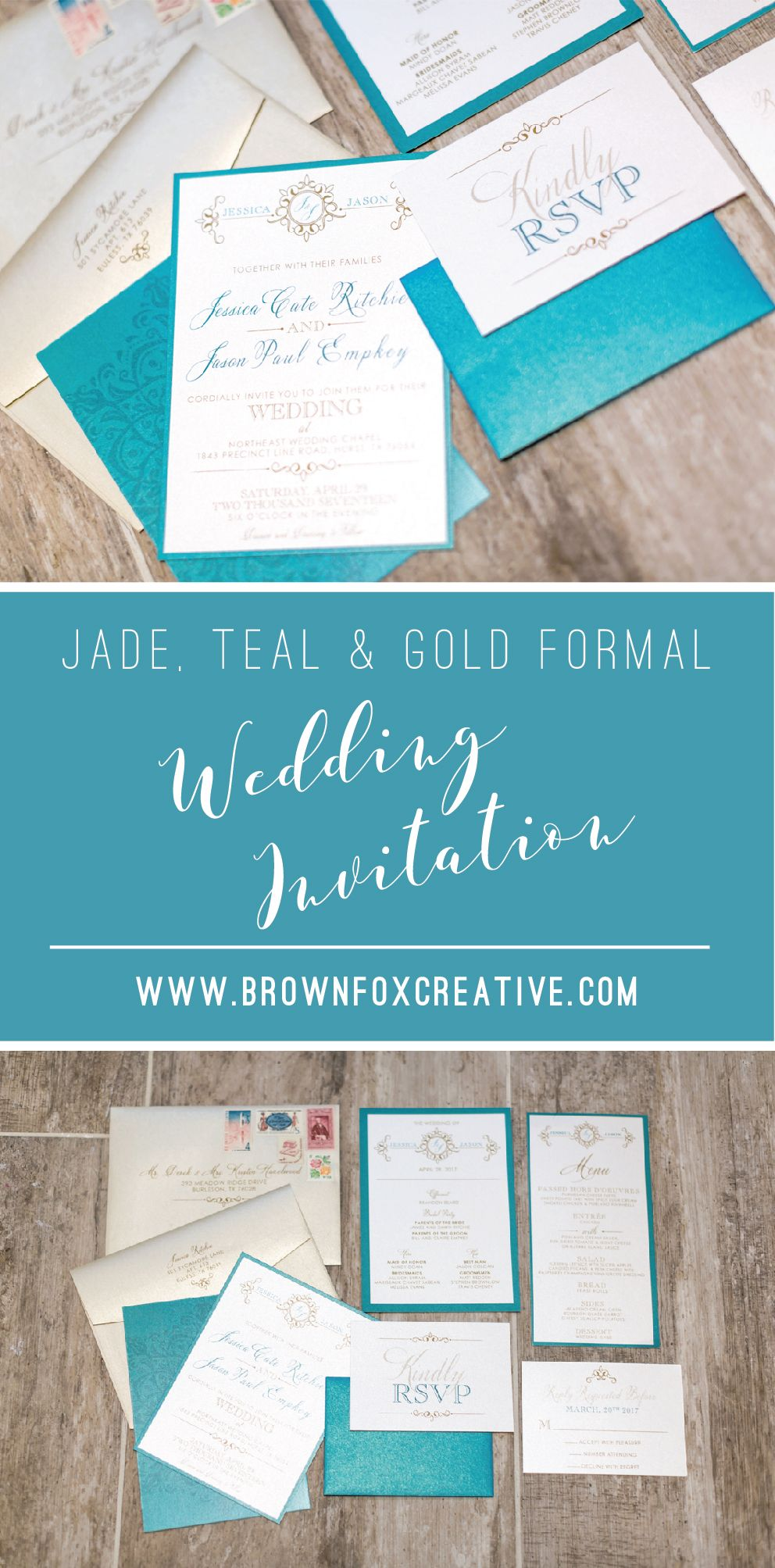5x7 jade green teal and gold formal modern wedding invitation suite 5x7 jade green teal and gold formal modern wedding invitation suite with rsvp return address printing on the invitation envelope stopboris Gallery