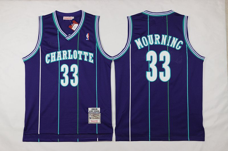 Mitchell And Ness Charlotte Hornets  33 Alonzo Mourning Purple Throwback  Stitched NBA Jersey 9c0a1f3ac