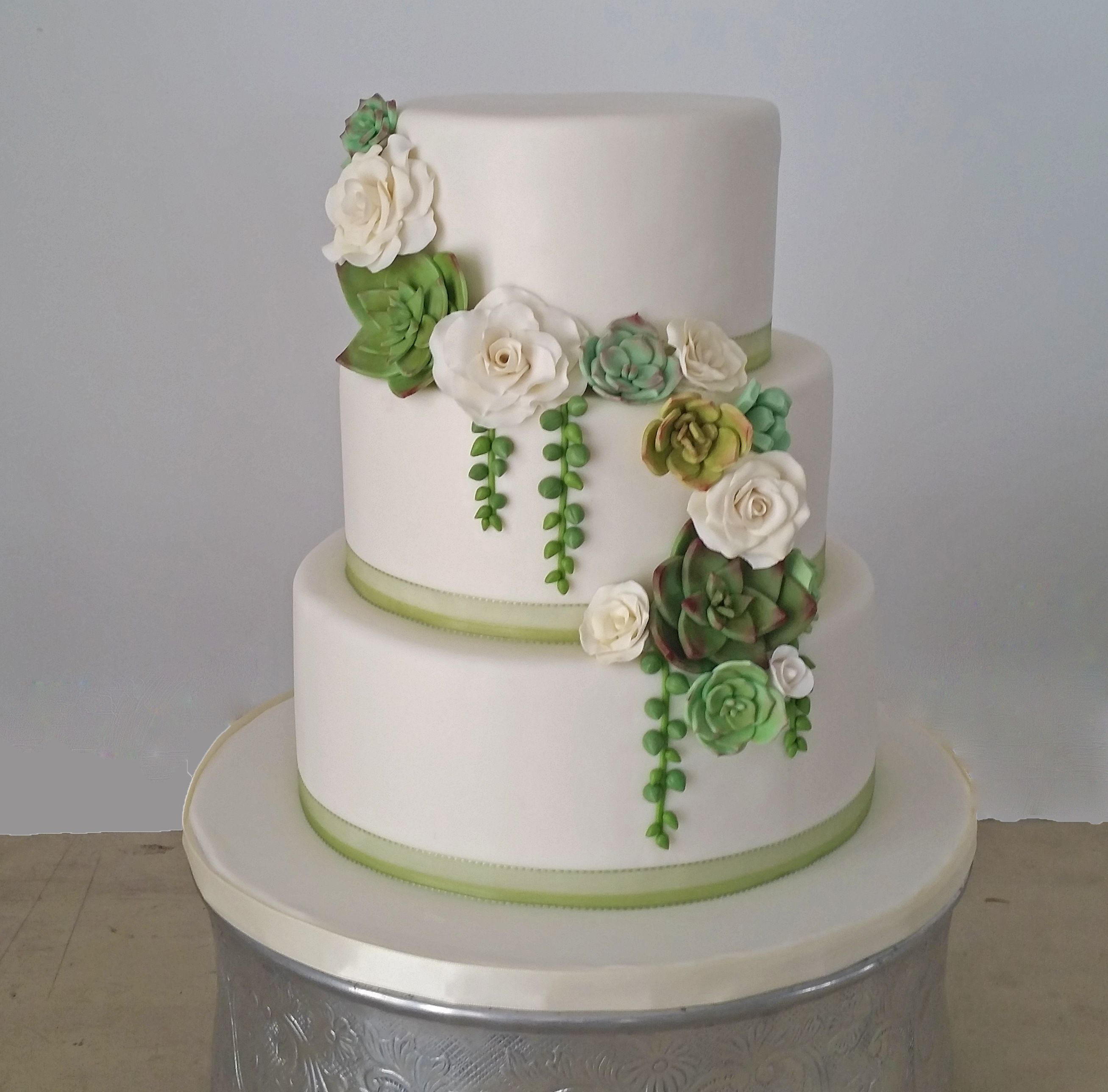 Beautiful Wedding Cakes By The Baking Grounds Bakery Café: Fondant Succulent Wedding Cake #succulent