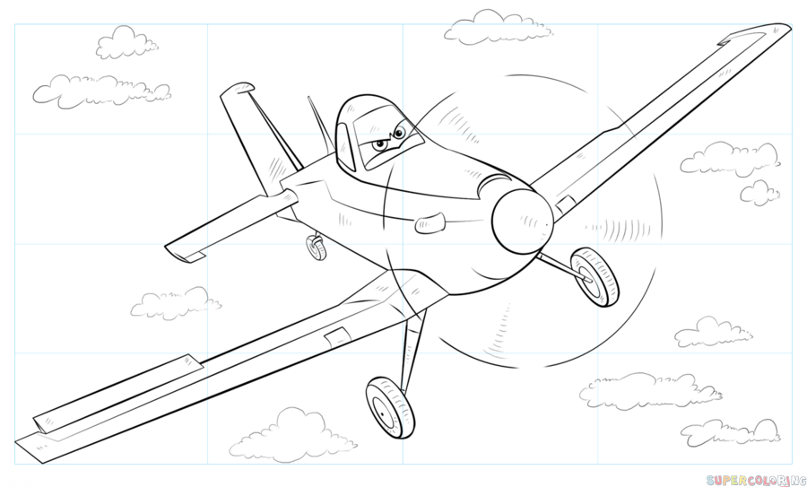How To Draw Dusty Crophopper From Disney Planes Step By Step Drawing Tutorials Drawing Tutorial Drawing Tutorials For Kids Coloring Pages
