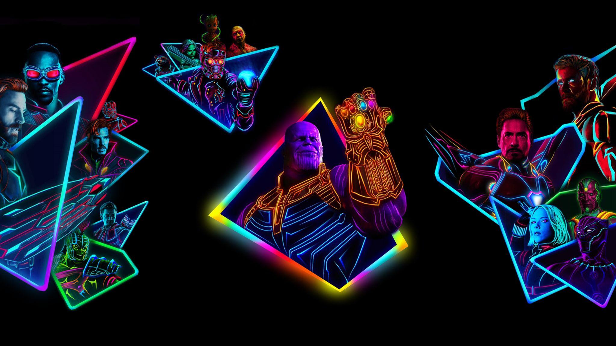 2048x1152 Avengers Infinity War 80s Style Artwork Avengers Neon Infinity War 80s Wallpapers 4k Thanos Artwork In 2020 Neon Wallpaper Hd Cool Wallpapers Avengers