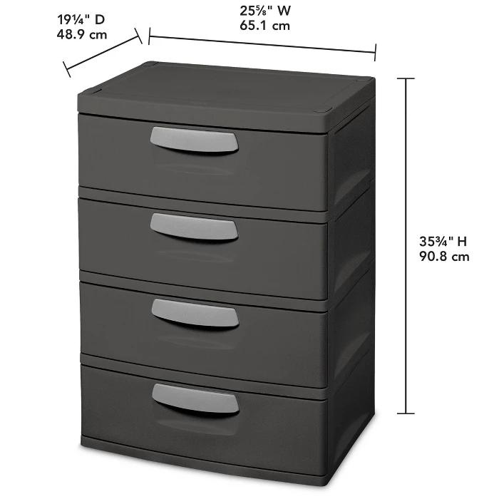 Sterilite 4 Drawer Storage Cart White Plastic Storage Cabinets