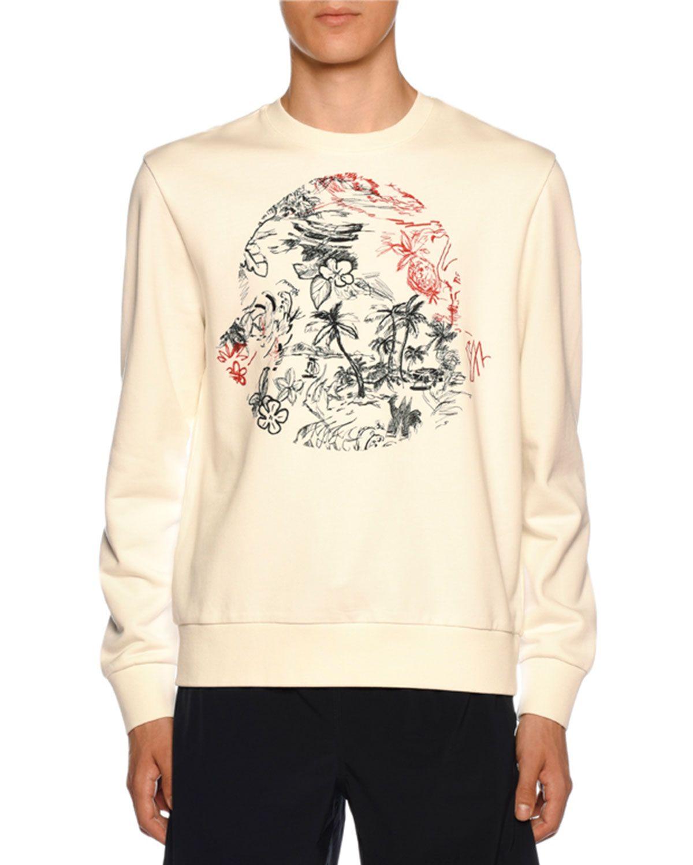 Men's Bell Logo Embroidered Crewneck Sweatshirt In White