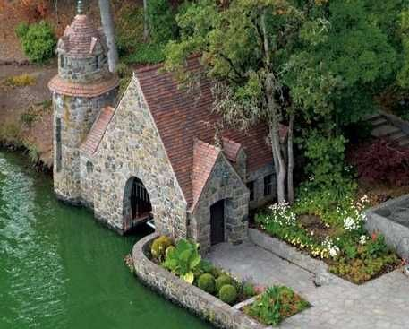 English Stone Cottage boat house | river stone garden ideas | pinterest | boat house