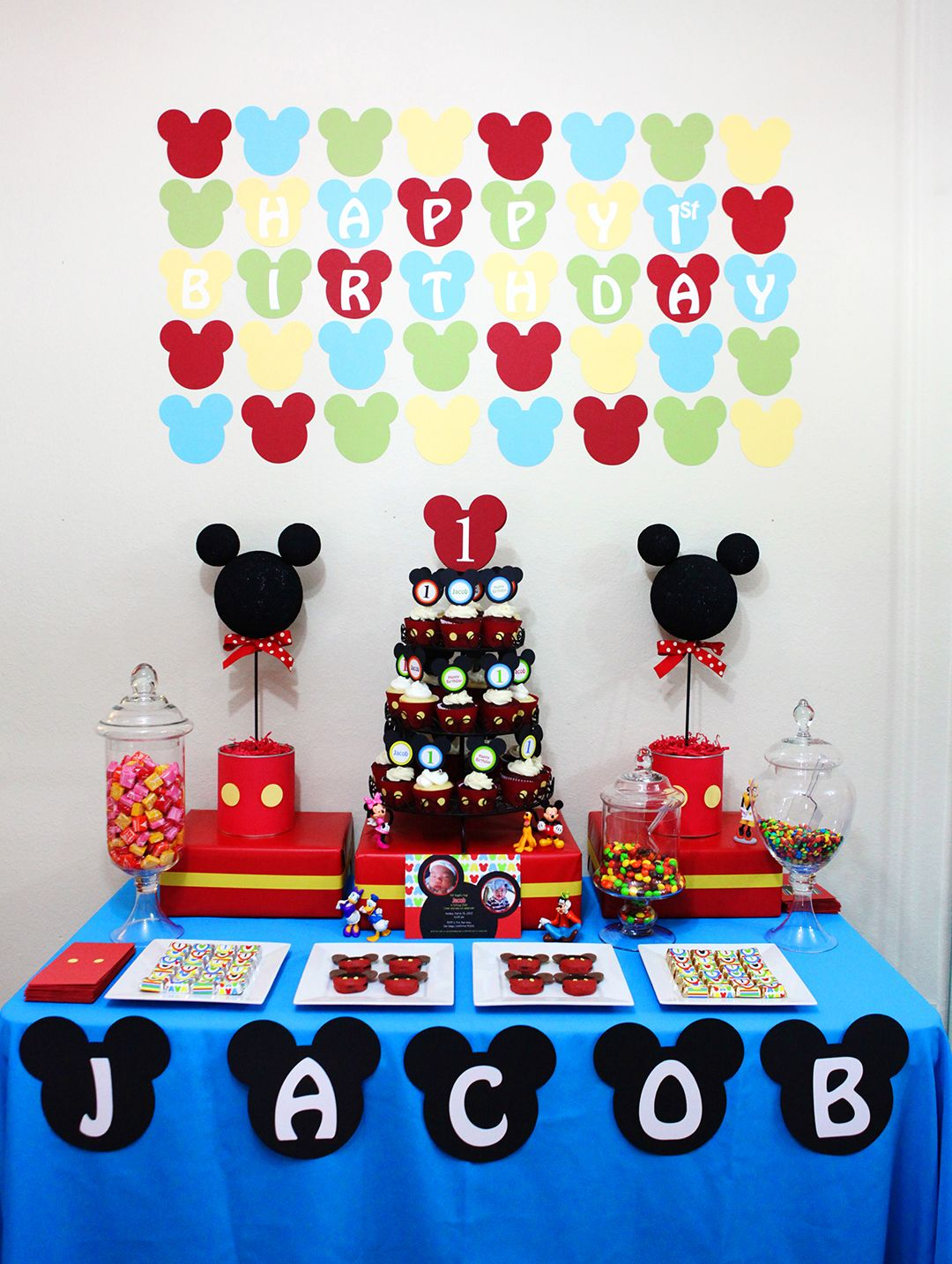 Mickey mouse party ideas birthday party pinterest mickey mouse check out this cute mickey mouse themed birthday party we created for jacob first birthday we mainly used the ideas of the mickey mo solutioingenieria Images
