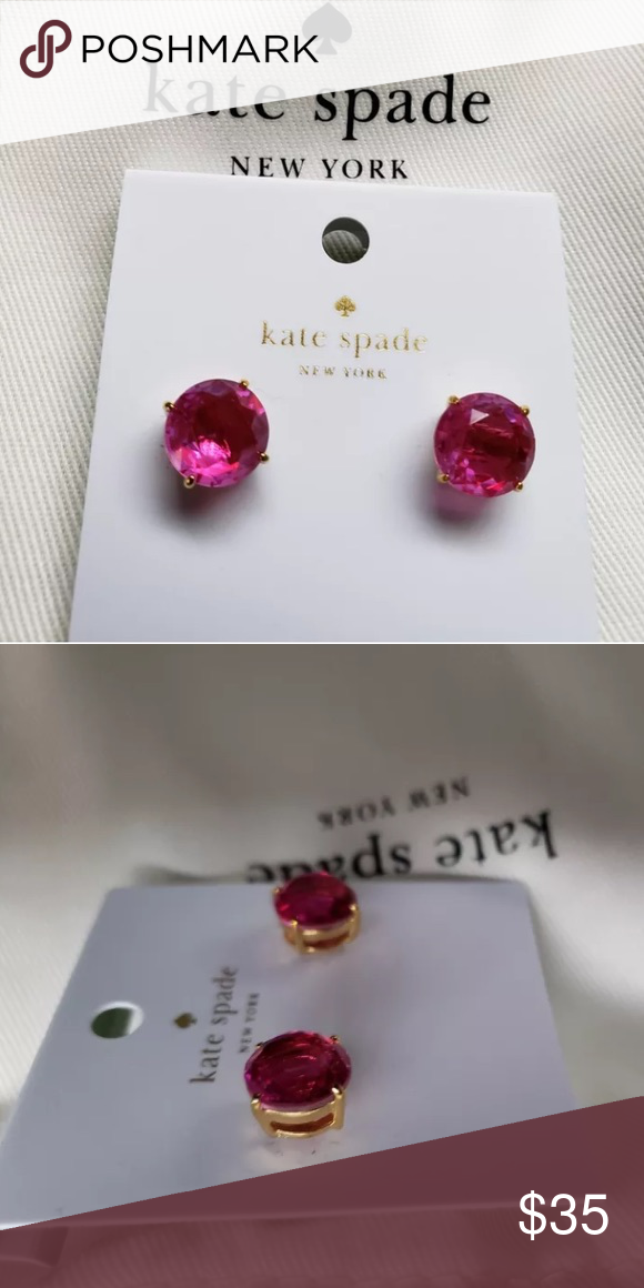 caca61e91 Kate Spade Fuchsia Gumdrop Stud Earrings NEW! AUTHENTIC KATE SPADE FUSCHIA  DEEP PINK ROUND GUMDROP