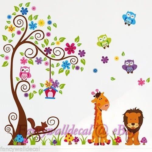 Removable Jungle Animal Zoo Wall Sticker Home Decor Decal Nursery Kids No2
