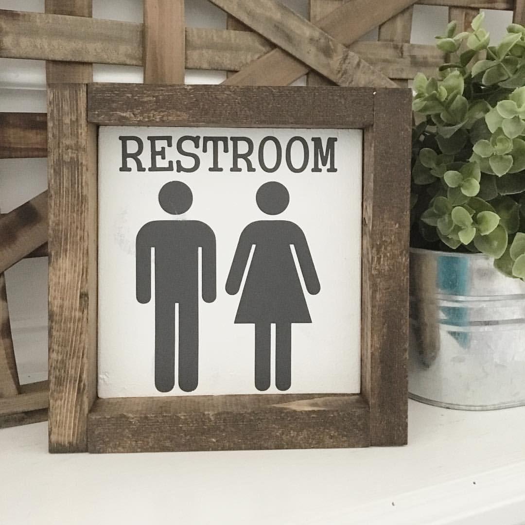 Bathroom Decor | Wood Framed Sign | Rustic | Farmhouse ...