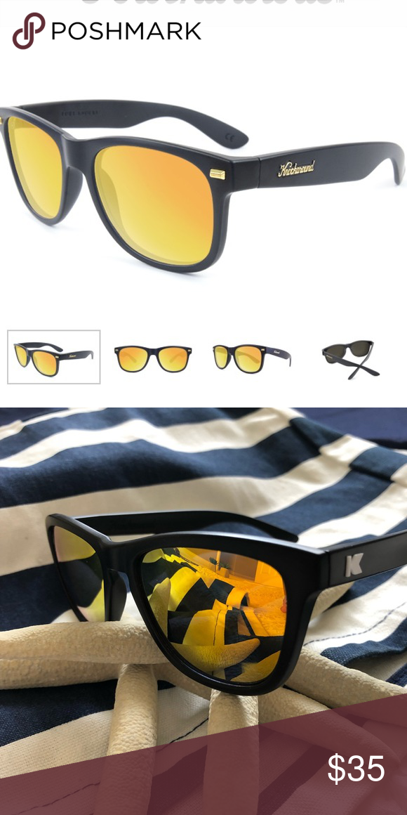 ac39097b4481 Knockaround Sunglasses Knockaround Fort knocks Stylish and classic frames  with a Matt black finish and some sunset mirrored lenses The black on yellow  are ...