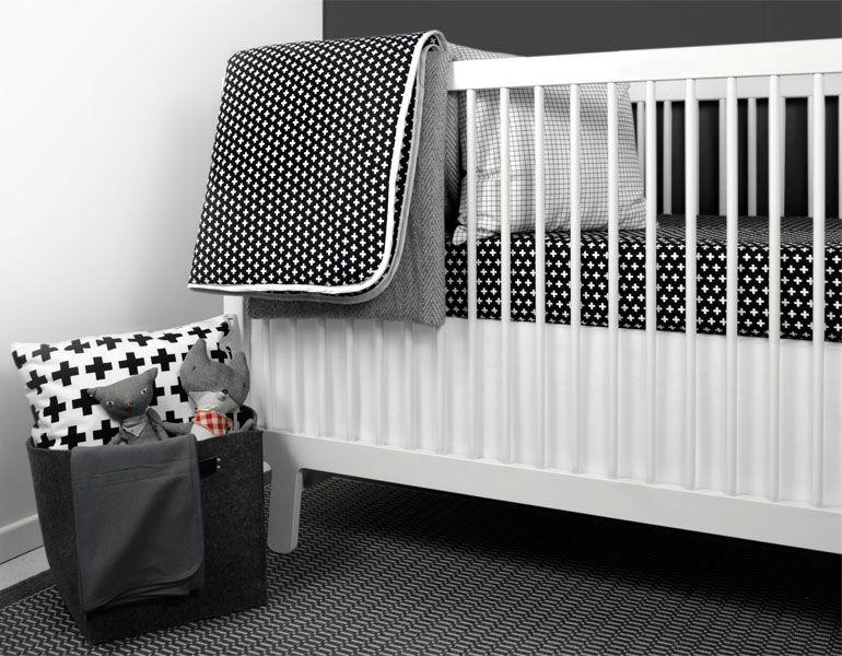 Olli Lime Modern Crib Bedding Modern Black White